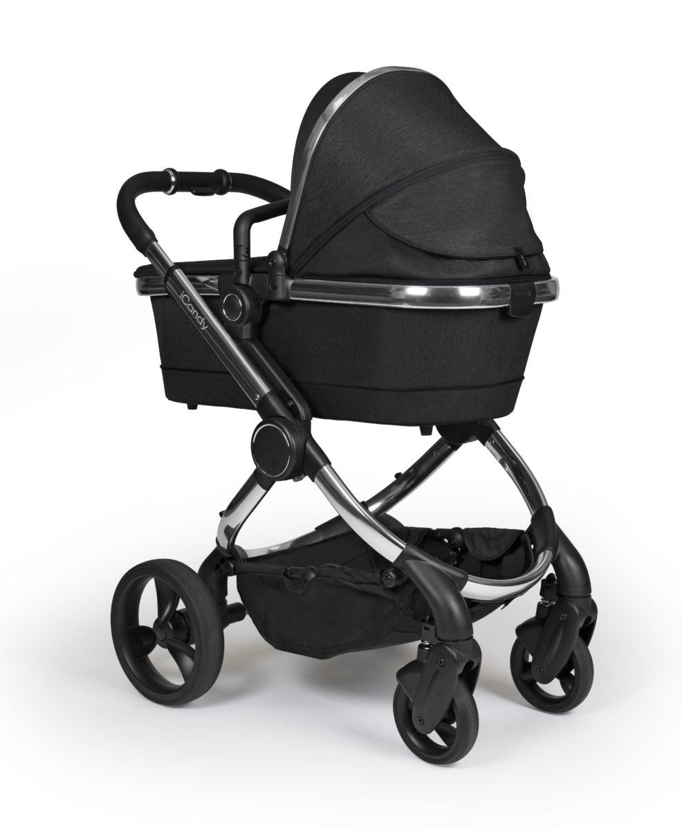 Peach 2020 Black Twill on Chrome – Carrycot