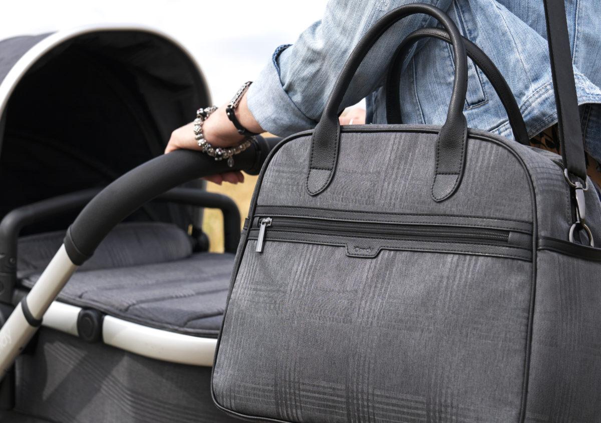 Dark Grey Check on Satin with Matching Bag-jpg